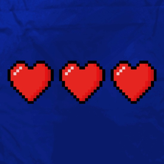 Trio of 16 Bit Hearts t shirt