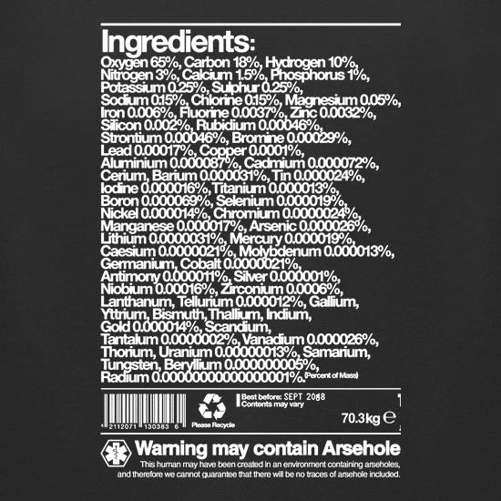 Human Ingredients - May Contain Arsehole t shirt