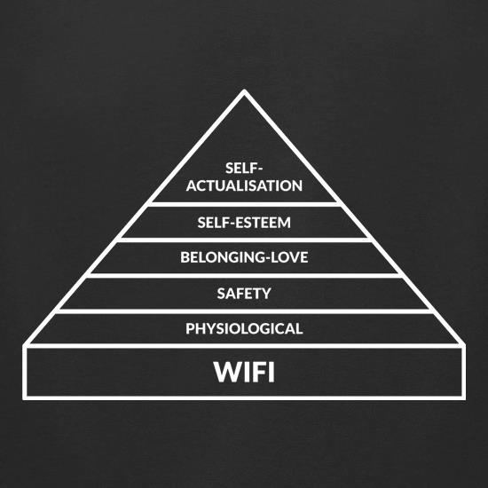 WiFi Hierachy Of Needs t shirt