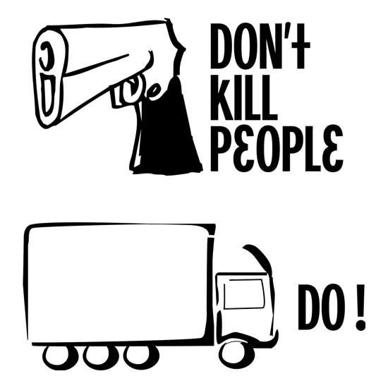 Guns don't kill people lorries do t shirt