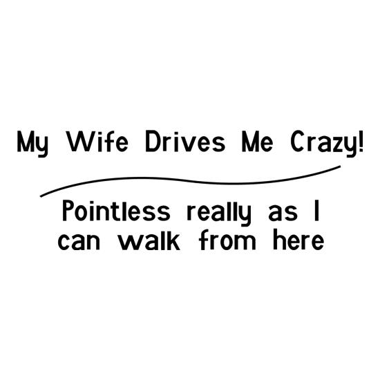 my wife drives me crazy, pointless really as i can walk from here t shirt