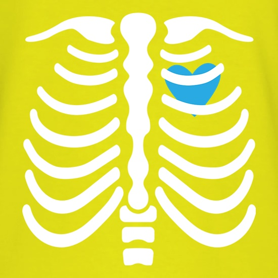 Blue Heart Skeleton t shirt