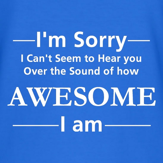 I'm sorry I can't seem to hear you over the sound of how awesome I am t shirt
