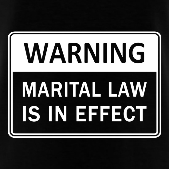 Warning Marital Law Is In Effect t shirt