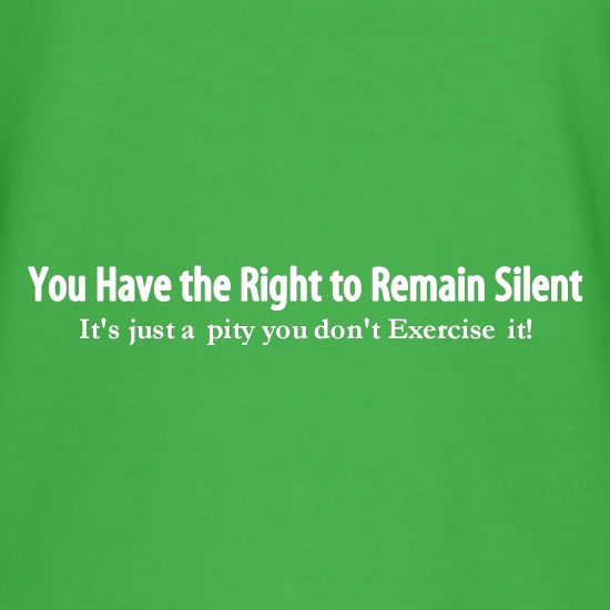 you have the right to remain silent, it's just a pity you don't exercise it! t shirt